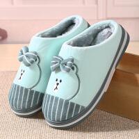 棉拖鞋女保暖情侣防滑厚底居家鞋卡通可爱月子鞋男女冬包跟棉拖鞋