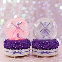 紫色薰衣草旋转飘雪水晶球音乐盒八音盒创意女生女友儿童生日礼物