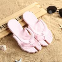 旅游旅行拖鞋折叠男女士情侣浴室防滑人字拖游泳洗澡出差便携拖鞋 粉色 赠鞋包