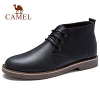 camel 骆驼男鞋 秋季英伦休闲通勤短靴潮流时尚复古牛皮中帮靴子