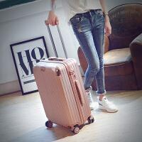 韩版旅行箱万向轮铝框拉杆箱pc学生行李皮箱潮男女软箱22 24 26寸SN9242 玫瑰金 拉链款