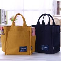 大容量帆布包便当包学生饭盒袋带水杯位多功能妈咪包妈妈手提袋