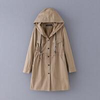 106 大码 秋季新款简约纯色修身排扣连帽长袖女式外套风衣