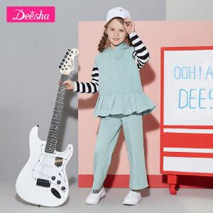 【3件3折到手价:55元】笛莎女童装2019春装新款两件套装中大童运动长袖长裤2件套装