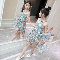 女童连衣裙夏装新款韩版露肩小女孩碎花无袖公主裙子