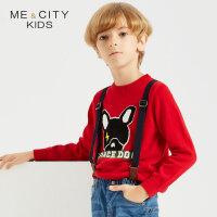 【1.18超品日全场2件2.5折,到手价:59.8】米喜迪mecity童装秋新款男童红色前胸闪电狗平面长袖毛衫