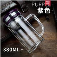 喝水杯瓶子便携双层玻璃过滤水杯玻璃杯带盖茶杯透明办公杯子