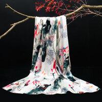 数码喷绘双面印花长丝巾围巾披肩两用女缎面油画独特国风长丝巾