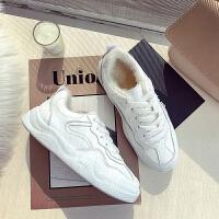 小白鞋女冬季加绒加厚平底学生纯白鞋皮面板鞋加棉二棉鞋运动球鞋 白色 加绒
