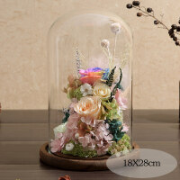 永生花礼盒玻璃罩玫瑰摆件保鲜干花真爱人音乐情人节生日七夕礼物 七彩爱情
