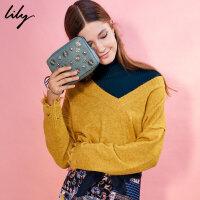 【每满200减100】Lily新款女装商务OL复古金属包圆环手拿包117430BZ816