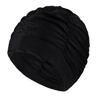 男女通用时尚舒适布泳帽 加大不勒头长发护耳褶皱游泳帽