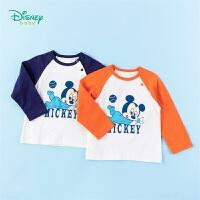 【99元3件】迪士尼Disney童装 男童T恤中小童纯棉打底衫2020年春秋新品米奇印花长款上衣儿童长袖