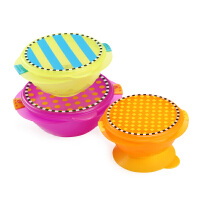 美国sassy儿童吸盘碗宝宝餐具带盖防滑婴儿吃饭辅食碗套装可微波