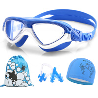男童女童中大童游泳镜泳帽套装儿童泳镜大框高清游泳眼镜