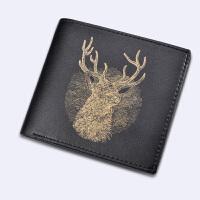 男士短款钱包横竖款时尚个性青年多卡位日韩学生创意小皮夹潮 生财有鹿横款金色 送超值