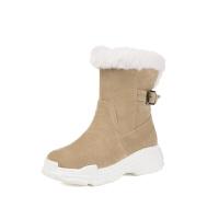 女童靴子韩版2018冬季小女孩短靴加绒保暖大童棉靴学生毛靴童鞋女软底