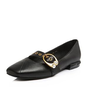 BASTO/百思图2018春季专柜同款黑色牛皮珍珠简约休闲方跟女单鞋RFW24AQ8