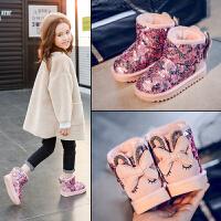 粉红小猪女童雪地靴儿童保暖鞋2018冬季新款中大童女宝加绒短靴潮