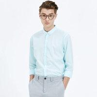 【1件2折到手价:31.2】MECITY男装夏季纯棉蓝色韩版休闲修身轻薄长袖衬衫