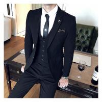 西服套装男士三件套秋季韩版修身新郎结婚礼服休闲格子西装英伦风