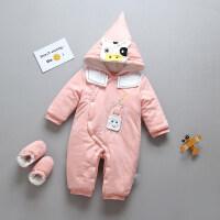 宝宝连体衣秋冬保暖薄棉加棉0-6个月3新生婴儿儿衣服加厚哈衣