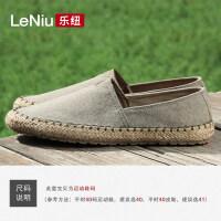 中国风渔夫鞋男士懒人草编休闲布鞋一脚蹬青年软底帆布鞋