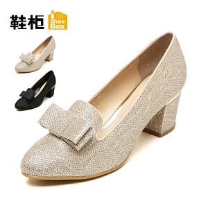 达芙妮集团 鞋柜时尚蝴蝶结亮面粗跟套脚女单鞋