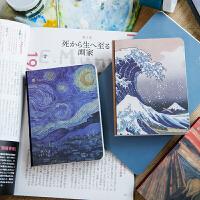世界名画笔记本子油画梵高莫奈星空手账本随身日记本记事本