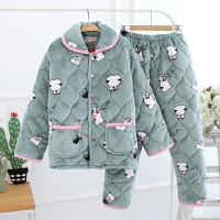 冬季睡衣女法兰绒家居服珊瑚绒夹棉三层加厚外穿2件套装