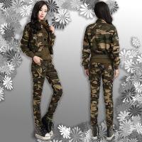 特价四季新品户外时尚迷彩服女作战短外套背心长裤套装团购作训服