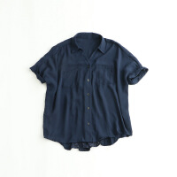 女春款短袖雪纺衫 宽松翻领蕾丝拼接日系气质上衣小衫 8J