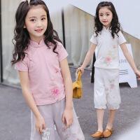 女童时尚套装洋气韩版潮衣新款儿童夏季唐装中大童衣服