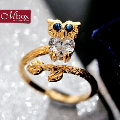 新年礼物Mbox戒指 日韩女款原创猫头鹰元素设计开口戒指指环戒圈 夜的守护韩版潮流 小资原创 送精美包装
