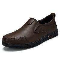 男士皮鞋真皮软底休闲鞋男皮爸爸鞋中老年人套脚懒人鞋