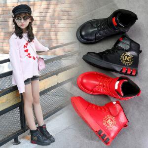 女童靴子秋冬季短靴2018新款韩版加绒二棉靴雪地马丁儿童鞋棉鞋潮