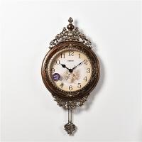 欧式挂钟客厅创意个性壁挂时尚复古美式大气钟表时钟家用挂表奢华 16英寸