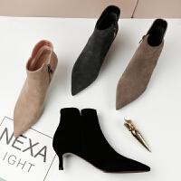 尖头细跟裸靴2018新款春秋单靴磨砂百搭韩版冬踝靴中跟短靴女