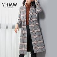 【清仓236元】YHMW毛呢外套女中长款2018冬季新款千鸟双排扣呢子大衣