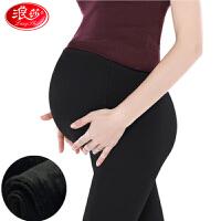 浪莎20000D软钢丝面膜加绒加厚踩脚一体裤可调节腰头冬打底裤孕妇