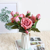 ins北欧玫瑰花假花套装家居客厅室内干花花束装饰花摆件摆设Cn