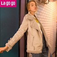 Lagogo拉谷谷2017年冬季新款皮毛一体拉链保暖机车外套女短款上衣GCWW539M13