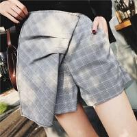 女装春装新款时尚修身显瘦不规则斜边格子压褶休闲短裤裙裤女