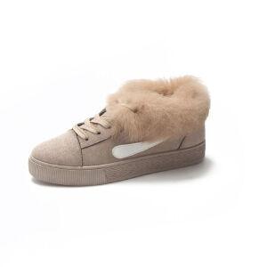WARORWAR新品YM130-8-17冬季韩版磨砂绒平底舒适女士短靴雪地靴