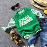 儿童毛线背心春秋中小男童套头针织毛衣马甲宝宝黑绿2色坎肩