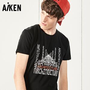 森马旗下Aiken短袖T恤男士夏装新款圆领字母印花体恤男半袖上衣青年潮