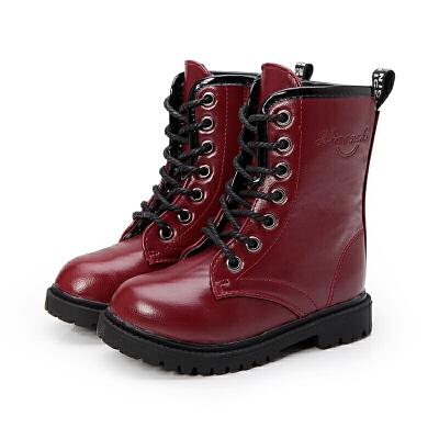 2018冬秋冬季新款童鞋女童高靴男童马丁靴儿童皮靴亲子鞋 黑色 单的