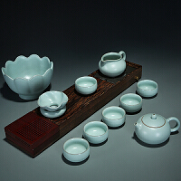 茶具套装汝窑整套功夫茶具汝瓷开片陶瓷茶壶盖碗茶海杯子家用套装 一套