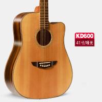 41寸单板吉他 民谣吉他 木吉他 弹唱演奏吉它面单吉他 41寸单板雕花KD600