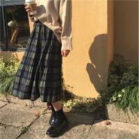 春装女装新款韩版复古百搭松紧腰呢子格子半身裙百褶裙中长裙学生
